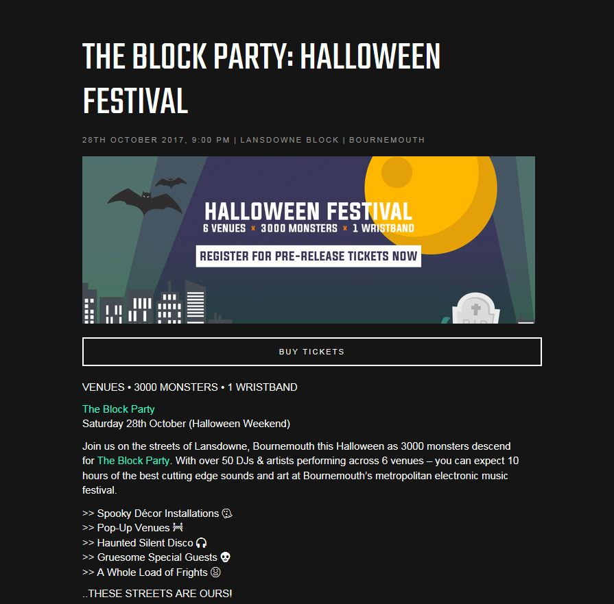 Tickets for Bournemouth's most anticipated Halloween Festival   BBX UK