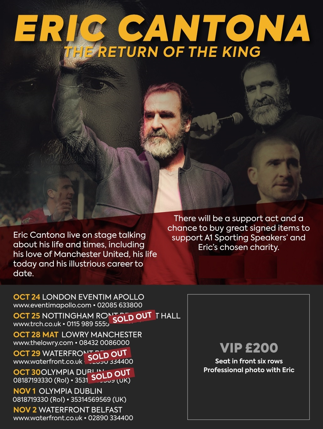 Vip Tickets To See Eric Cantona At The London Apollo Manchester